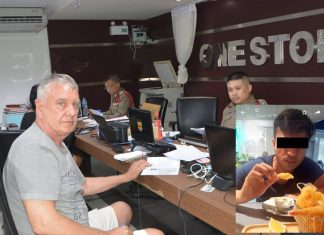 Belgian tourist Jean Mubert files a robbery report with deputy inspector, Pol. Capt. Thanin Kanpai at Pattaya police station against Waqar Ahmad (inset).