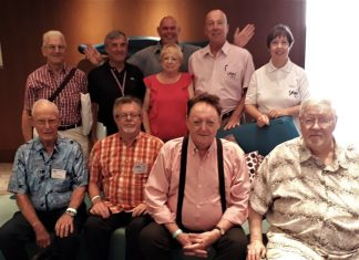 The current PCEC Governing Board poses for a photo after their 1 July 2018 meeting and election of officers. Front Row Left to Right: Richard Smith (Vice Chairman), Robert Smith, Allan Riddell, and Darrel Vaught. Back Row Left to Right: John Morris, Ron Hunter, Anne Smith, Roy Albiston (Chairman), and Judith Edmonds (Treasurer). Far back: Terry Albery (Secretary). Board Member Tom Loughney was in the USA and unavailable for the photo.