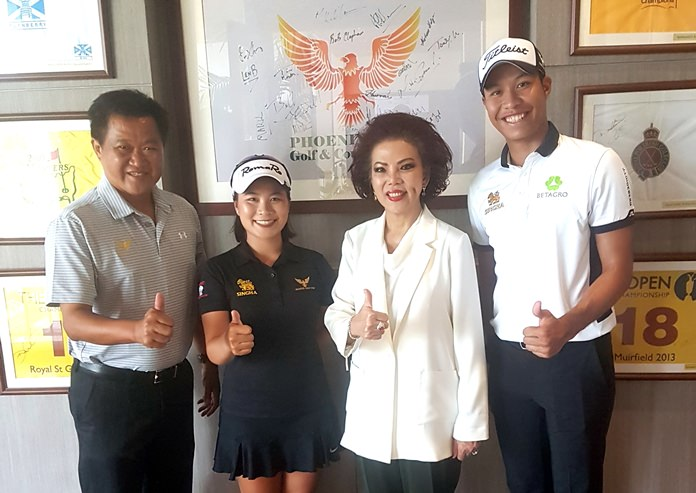 (From left) Phoenix Gold Golf and Country Club General Manager Nathawat Askornchat, Kanyalak Preedasuttijit, Phoenix Gold Golf and Country Club President Chanya Swangchitr, and Danthai Boonmer.