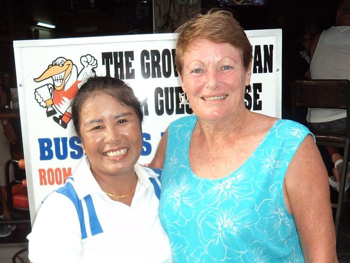 Wan Makmul (left) with Lorraine Percy.