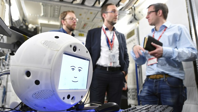 The AI robot Cimon, pronounced Simon, slightly bigger than a basketball, is meant to assist German astronaut Alexander Gerst with science experiments. (File photo: Jan. 29, 2018/T. Bourry/ESA/DLR via AP)