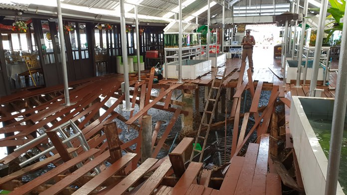The owner of a Bang Saray restaurant where 29 people were hurt when its wooden floor collapsed may face charges for poorly maintaining the eatery sitting three meters above the water.