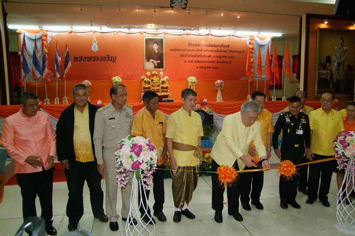 Deputy Permanent Secretary of Ministry of Culture Chai Nakronchai opens the HRH Princess Chulabhorn birthday exhibition at provincial hall.