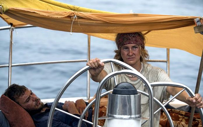 """This image released by STXfilms shows Shailene Woodley (right) and Sam Claflin in a scene from """"Adrift."""" (Photo STXfilms via AP)"""