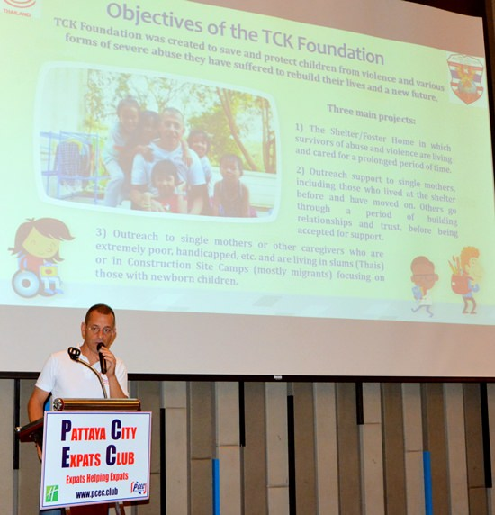 Gio Luicardi with Take Care Kids Foundation speaks to the PCEC explaining their objectives to take care of kids.