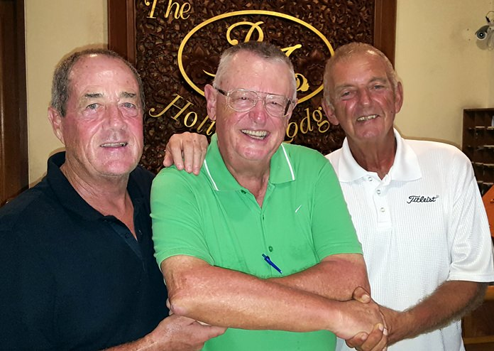 Birthday boy Dick Warberg (center) with Alan Sullivan (left) and Mick Coghlan.
