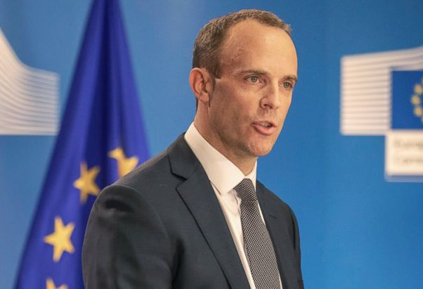 Britain's Secretary of State for Exiting the European Union Dominic Raab talks during a press conference at the European Commission building in Brussels on Thursday, July 26. (AP Photo/Olivier Matthys)
