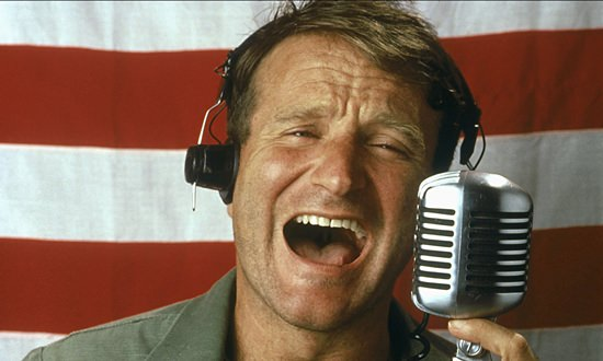 """Actor Robin Williams is shown in a scene from the 1987 movie, """"Good Morning, Vietnam."""""""