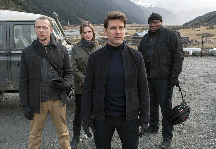 "This image shows (from left) Simon Pegg, Rebecca Ferguson, Tom Cruise and Ving Rhames in a scene from ""Mission: Impossible - Fallout."" (David James/Paramount Pictures and Skydance via AP)"