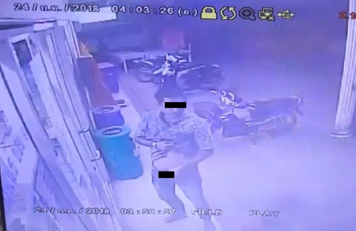 Police are hunting for a man who was caught on video masturbating outside a Pattaya convenience store.