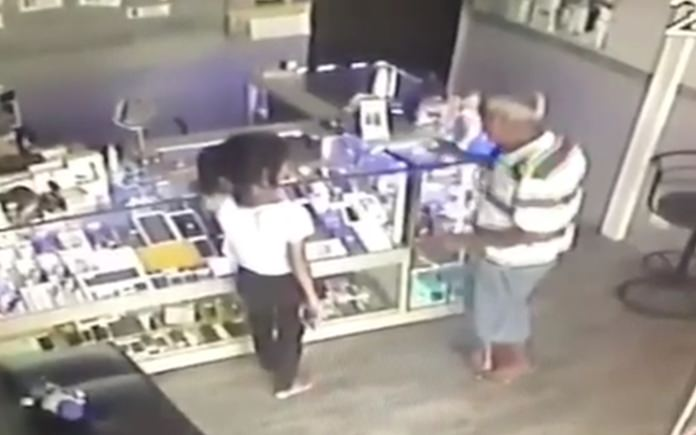 Naklua retailers are on the lookout for a woman caught on video stealing mobile phones on display at small shops.