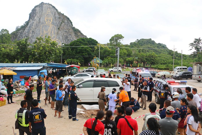 A Bangkok couple celebrating a birthday in Pattaya were shot dead near the golden Buddha image at Khao Cheechan.