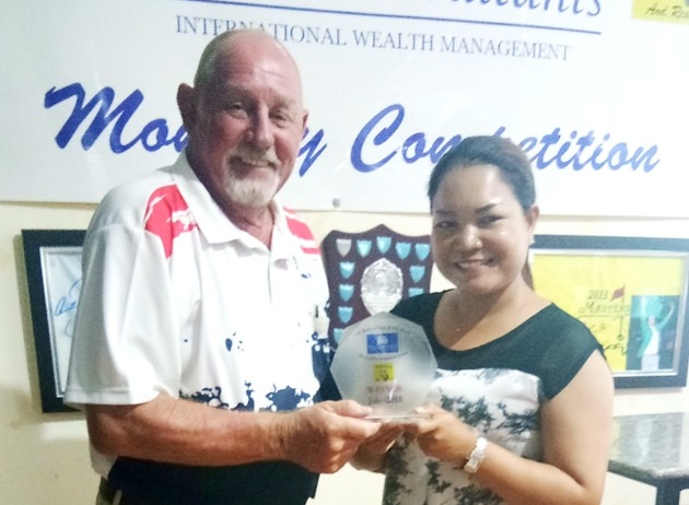 Bob Philp (left) presents the medal to Miss Eng.