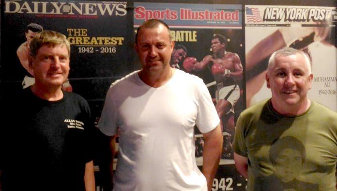 (From left) Frank Grainger with Steve Harris and Mike Alleyne.