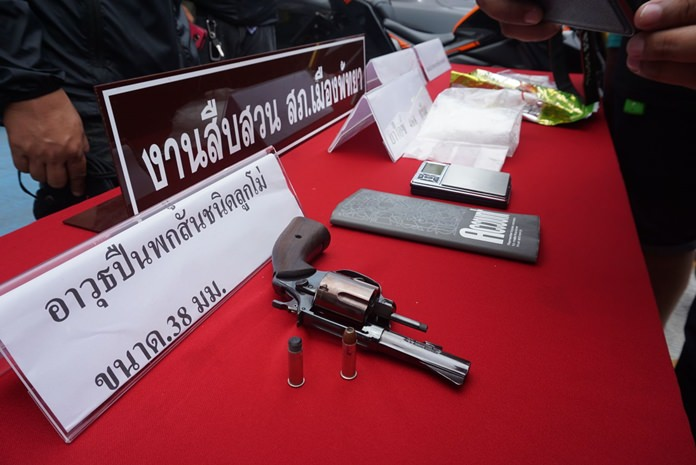 Pattaya police arrested a married couple with nearly a half-kilogram of crystal methamphetamine and a loaded 38-caliber handgun.