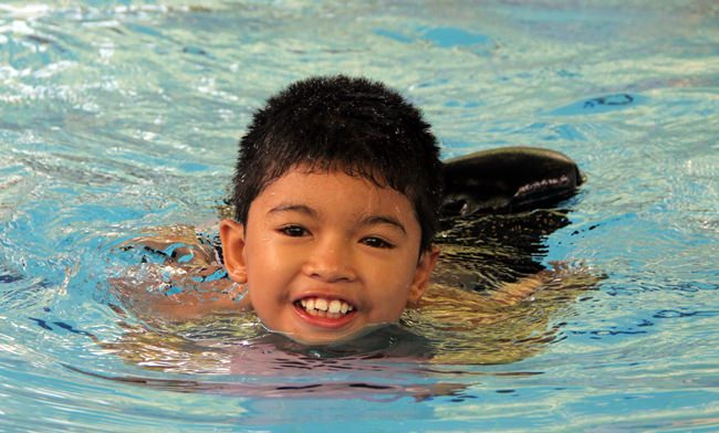 Winner of the swimming the width.