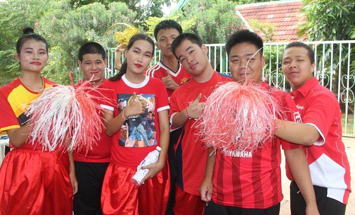 Red team cheerleaders.