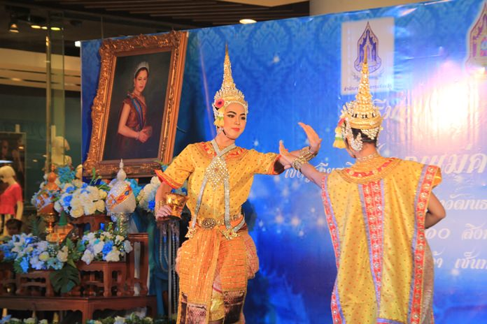 Students from Pattaya City Schools perform on Mothers' Day at Central Festival Pattaya Beach.