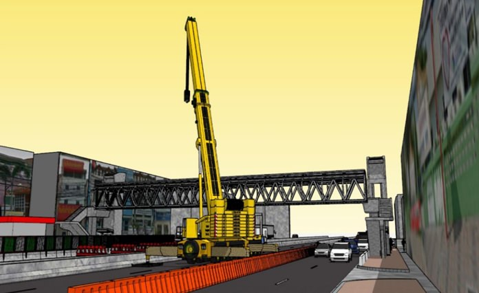 An artist's rendering of the crane being brought in to work on the wheelchair-accessible pedestrian bridge over Sukhumvit.