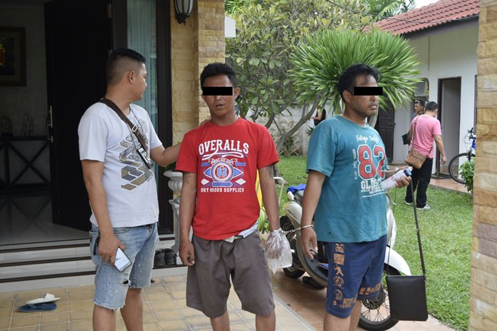 Manoch Jityim (center) and Oatthaphon Sulaiman (right) were charged with illegal drug use, with Manoch receiving an extra charge for attempted rape.