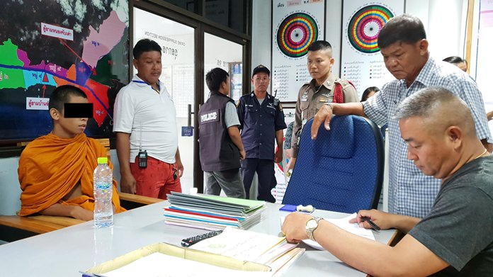 Prawit Pankaew (left) and two teenagers were arrested for getting high and carrying a gun onto temple grounds.