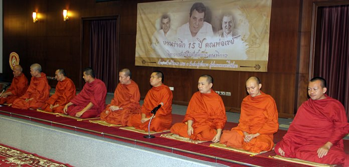 The nine monks who chanted prayers for Father Ray.