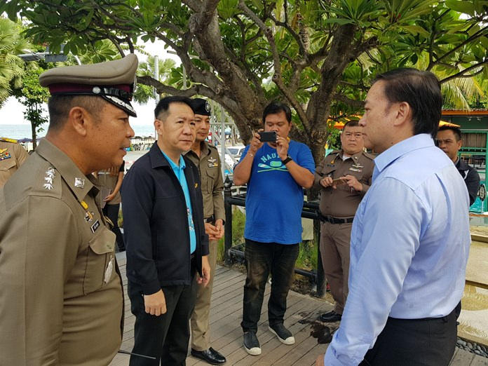 Pattaya police visit hotel management, trying to get to the bottom of a video posted online during a party at the A-One Royal Cruise hotel.