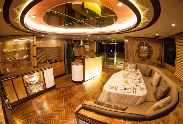 Eight varieties of top quality wood are used to create the luxurious saloon on the Heliotrope 65 catamaran.