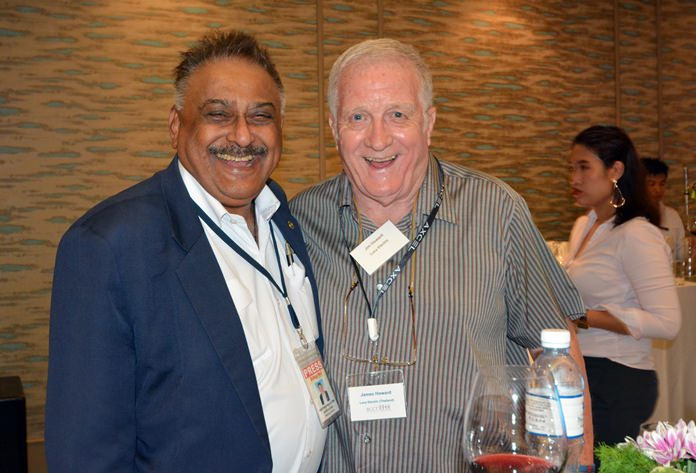 Peter Malhotra, MD of Pattaya Mail has a good laugh with Jimmy Howard of Lucy Electric (Thailand). Must have been a rugby joke.