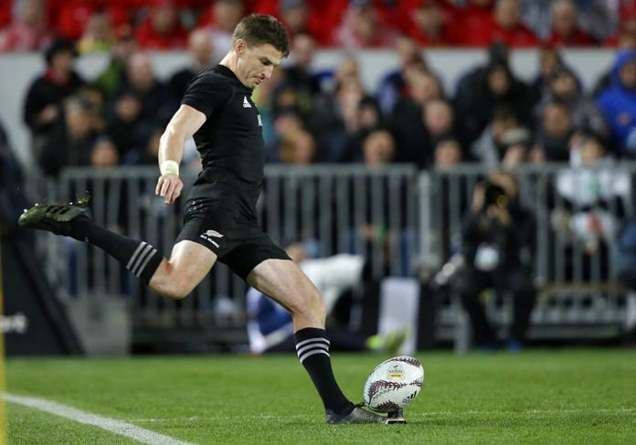In this June 24, 2017 file photo All Blacks flyhalf Beauden Barrett kicks a conversion during the first test between the British and Irish Lions and the All Blacks at Eden Park in Auckland, New Zealand. (AP Photo/Mark Baker)
