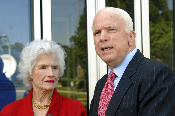 In this May 13, 2007, file photo, then-Republican presidential hopeful Sen. John McCain, R-Ariz., talks to reporters after appearing on NBC's 'Meet the Press' with his mother, Roberta McCain, left, at the NBC studios in Washington. John McCain's rebellious streak didn't come out of nowhere. His now 106-year-old mother, Roberta, had a habit of speeding behind the wheel and racking up tickets. Told on a trip to Europe that she was too old to rent a car, she bought one instead. (AP Photo/Kevin Wolf, File)