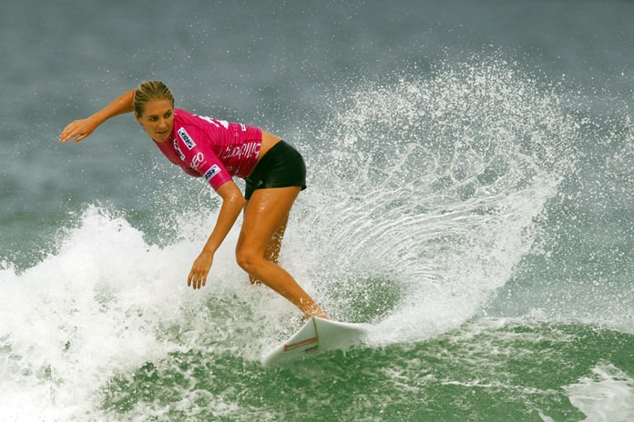 In this May 12, 2012, file photo, Australia's Stephanie Gilmore competes in the Association of Surfing Professionals (ASP) Billabong Rio Pro women's surfing competition at Barra da Tijuca beach in Rio de Janeiro, Brazil. (AP Photo/Felipe Dana)