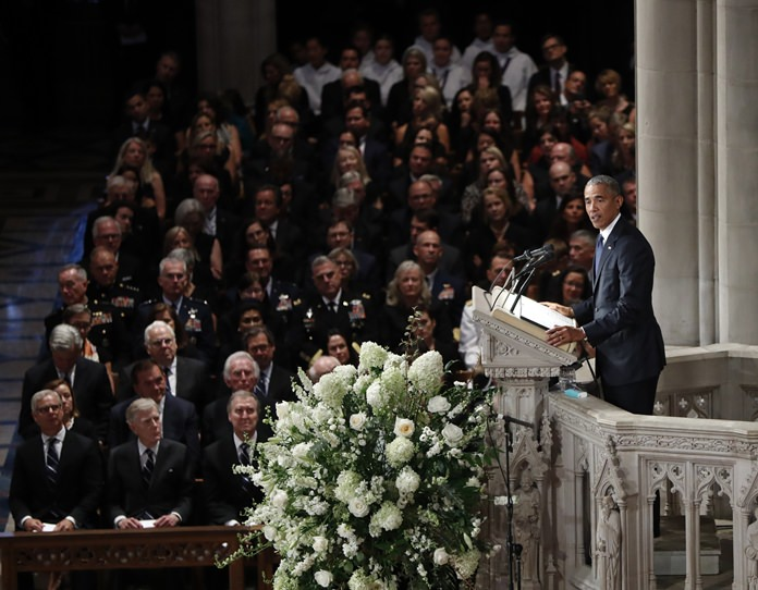Former President Barack Obama speaks at a memorial service for Sen. John McCain, R-Ariz., at Washington National Cathedral in Washington, Saturday, Sept. 1. (AP Photo/Pablo Martinez Monsivais)