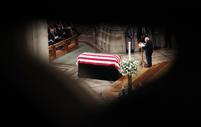 Former Secretary of State Henry Kissinger speaks at a memorial service for Sen. John McCain at Washington National Cathedral in Washington. (AP Photo/Pablo Martinez Monsivais)