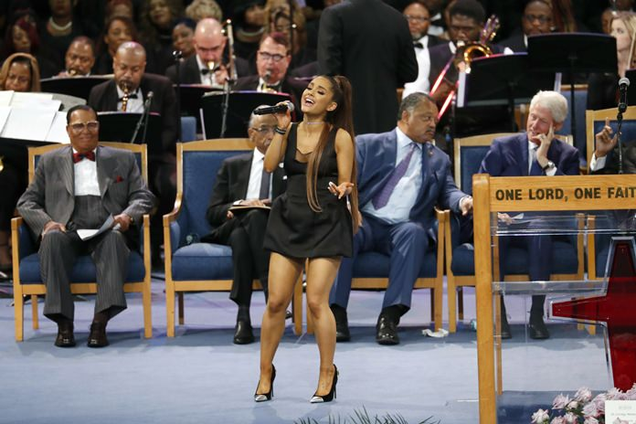 Ariana Grande performs during the funeral service for Aretha Franklin at Greater Grace Temple, Friday, Aug. 31, in Detroit. (AP Photo/Paul Sancya)