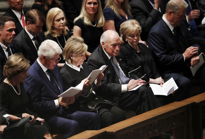 From left, former first lady Laura Bush, former President Bill Clinton, former Secretary of State Hillary Clinton, former vice president Dick Cheney and his wife Lynne and former vice president Al Gore arrive at a memorial service for Sen. John McCain. (AP Photo/Pablo Martinez Monsivais)