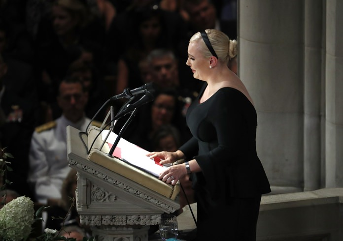 Meghan McCain speaks at a memorial service for her father, Sen. John McCain, R-Ariz., at Washington National Cathedral in Washington, Saturday, Sept. 1. (AP Photo/Pablo Martinez Monsivais)