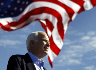 In this Nov. 3, 2008, file photo, Republican presidential candidate Sen. John McCain, R-Ariz., speaks at a rally in Tampa, Fla. (AP Photo/Carolyn Kaster, File)