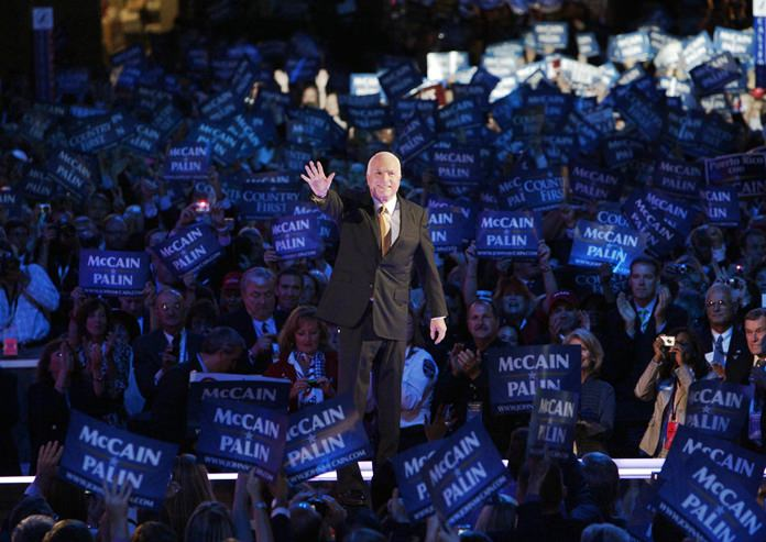 In this Sept. 4, 2008, file photo, Republican presidential candidate John McCain acknowledges the crowed as he goes on stage at the Republican National Convention in St. Paul, Minn. (AP Photo/Paul Sancya, File)