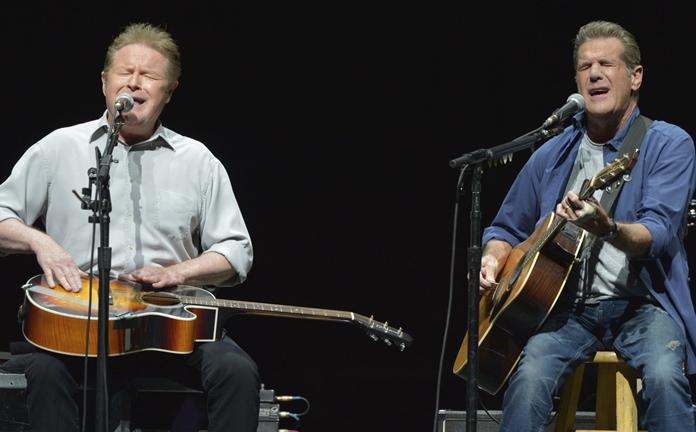 In this Jan. 15, 2014, file photo, Don Henley (left) and Glenn Frey of The Eagles perform at the Forum in Los Angeles. (Photo by John Shearer/Invision/AP)