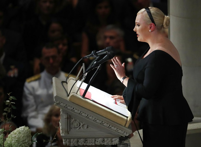 Meghan McCain speaks at a memorial service for her father, Sen. John McCain, R-Ariz., at Washington National Cathedral in Washington, Saturday, Sept. 1, 2018. (AP Photo/Pablo Martinez Monsivais)