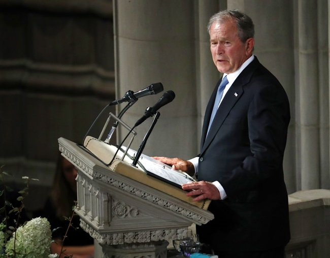 Former President George W. Bush speaks at a memorial service for Sen. John McCain, R-Ariz., at Washington National Cathedral in Washington, Saturday, Sept. 1, 2018. (AP Photo/Pablo Martinez Monsivais)
