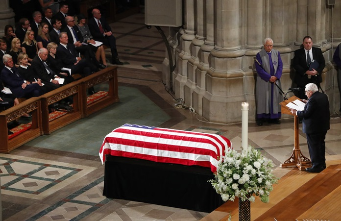 Former Secretary of State Henry Kissinger speaks at a memorial service for Sen. John McCain, R-Ariz., at Washington National Cathedral in Washington, Saturday, Sept. 1, 2018. (AP Photo/Pablo Martinez Monsivais)