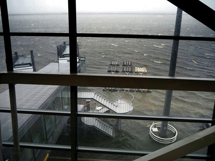 Kansai International Airport is partly inundated following a powerful typhoon in Izumisano, Osaka prefecture, western Japan, Tuesday, Sept. 4, 2018. (Sayaka Kamohara/Mainichi Newspaper via AP)