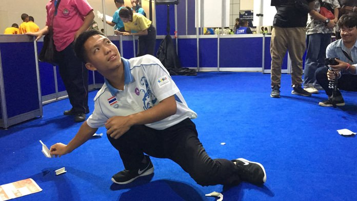 Mong Thongdee demonstrates his extraordinary talents in making paper planes.