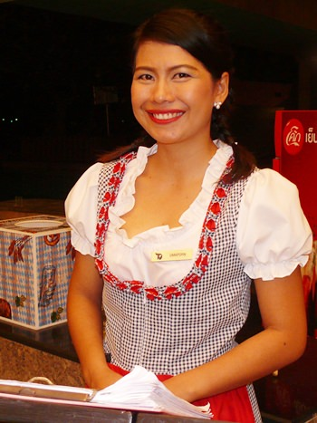 Staff turned out in dirndl.