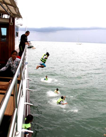 No plank to walk but jumping off the boat proved great fun.
