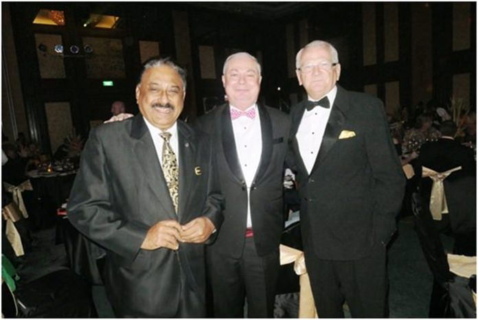 The happy trio, Peter Malhotra of Pattaya Mail, Eric Hallin, GM of the Rembrandt Hotel and hotelier/adventurer/writer extraordinaire Andrew Wood.