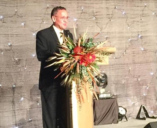 H.E. Geoff Doidge welcomes guests to the 'We are Golden' Ball.