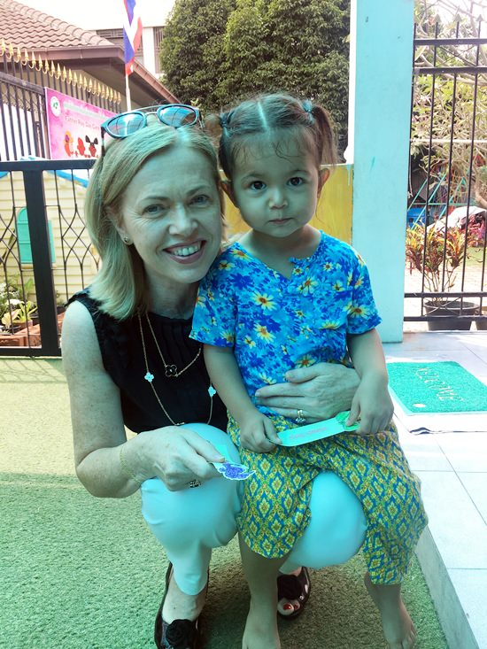 Marie Cotter and one of the Foundation's youngest children.